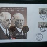 1988 Emisiune comuna Franta - Germania FDC + Monezi (K.Adenauer si de Gaulle), Europa