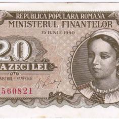 20 lei 1950 bancnota VF/XF - Bancnota romaneasca
