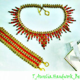 "♥ Set Handmade –Colier tip Choker si bratara asortate din margele ""Amber "" ♥ - Set bijuterii handmade si fashion"