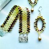 "♥ Set Handmade –Bratara si cercei lungi asortati din margele ""Golden Rays"" ♥ - Set bijuterii handmade si fashion"