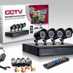 Sistem supraveghere Kit CCTV DVR 4 camere EXT / INT, HDMI, Garantie, Factura - Camera CCTV, Cu fir, Analogic, Color