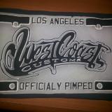 Emblema,patch,cauciucata ,West Coastpentru vesta,geaca, motociclisti