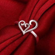 Inel superb argint 925, forma inimioara + cutie cadou; marime 8 - Inel argint