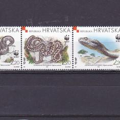 Fauna, serpi, WWF, Croatia. - Timbre straine, Nestampilat