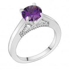 Inel placat cu aur alb 18K si piatra ametist violet; marime 9 - Inel placate cu aur