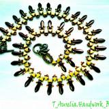 "♥ Set Handmade -Colier Princess si Cercei lungi asortati din margele""Nefertiti""♥ - Set bijuterii handmade si fashion"