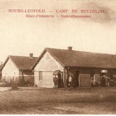 WW1 CAMP DE BEVERLO BELGIA BARACILE BLOCULUI DE INFANTERIE, Necirculata, Printata