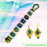 "♥ Set Handmade -Bratara si Cercei lungi asortati din margele ""Rain Autumn"" ♥ - Set bijuterii handmade si fashion"