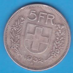 (1) MONEDA DIN ARGINT ELVETIA - 5 FRANCS 1932, Europa