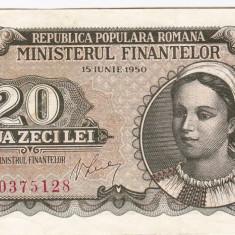 20 lei 1950 bancnota VF+ (4) - Bancnota romaneasca
