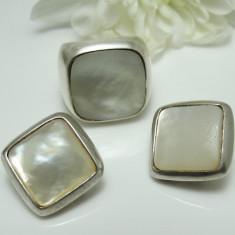 SUPERB SET XXL SEMNAT ATHENA CONFECTIONAT DIN ARGINT DECORAT CU SIDEF NATURAL - Set bijuterii argint