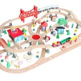Set trenulet City Train jucarii din lemn sine cale ferata trenulete 130 piese
