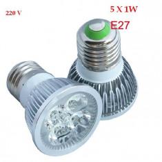BEC LED LEDURI CASA SPOT E27 5W 5 x 1 W 5 SMD ECHIVALENT 50W ALB WHITE 220V AC