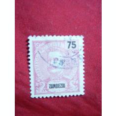 Timbru 75 Reis 1898 Zambezia Colonie Portugheza , stampilat
