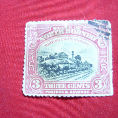 Timbru Borneo Nord Colonie Britanica 1909 - 3 centi rosu , stampilat