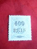 Timbru 400 reis supratipar pe 50 reis Zambezia 1902 ,albastru ,nestampilat