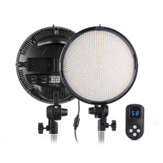 Tolifo PT-800B Panou LED rotund 800 LED-uri 3200-5600K cu telecomanda radio - Lampa Camera Video
