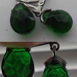 Cercei cristal Cehia culoare verde imperial cu baze otel - Cercei inox
