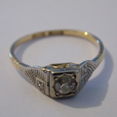 Inel aur 18k si platina cu diamante - 451, Culoare: Galben