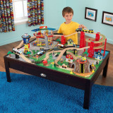 Set trenulet din lemn Waterfall Junction KidKraft cu masa de joaca avion tunel, Unisex