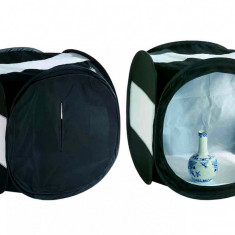 Cort de difuzie pliabil negru cu benzi laterale albe pentru fotografie de produs 40cm - Echipament Foto Studio, Corturi difuzie