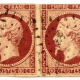 1853 FRANTA Napoleon III pereche 80 c. pe GALBEN PAI  Yt 17Ac = 310 EUR uzat, Regi, Stampilat
