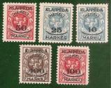 Cumpara ieftin 1923 Memel KLAIPEDA - 5 timbre supratipar, guma originala, NOI cu SARNIERA