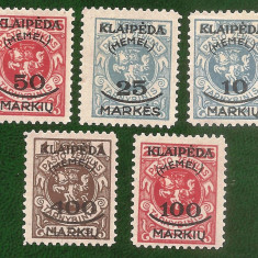 1923 Memel KLAIPEDA - 5 timbre supratipar, guma originala, NOI cu SARNIERA, Nestampilat