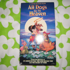 Caseta video VHS originala NTSC, Desene animate: All dogs go to heaven, SUA - Film animatie mgm, Engleza