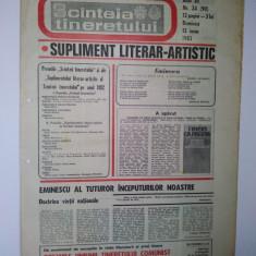 Ziar - supliment literar artistic SCANTEIA TINERETULUI - 12 iunie 1983
