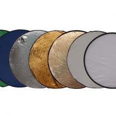 Blenda rotunda 7in1 gold silver difuzie alb sunfire albastru verde 80cm - Echipament Foto Studio, Blende foto difuzie