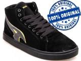 Adidasi barbat Airwalk Atlantic Mid - ghete skate - adidasi originali - in cutie, 44.5, Negru, Piele intoarsa