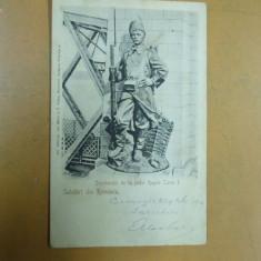 Cernavoda Dorobantul de la podul regele Carol I Salutari din Romania - Carte Postala Dobrogea pana la 1904, Circulata, Printata