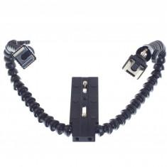 Weifeng FLH-11 bracket flexibil dublu pentru blitzuri pe patina