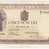 4) Bancnota 500 lei 1940,filigran vertical,VF