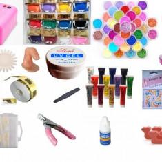 Trusa unghii false cu gel set manichiura incepatori kit contructie unghii lampa
