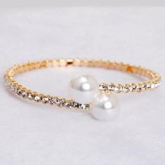 Superb model șic - Bratara 9K GOLD FILLED cu Zircon CZ si perle - Bratara placate cu aur