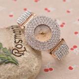 Ceas dama SHINNY auriu gold curea lunga cristale + cutie cadou, Quartz, Analog