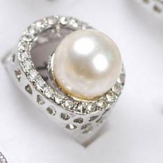 Superb inel 9K GOLD FILLED alb cu perla. Marimea 7 - Inel placate cu aur