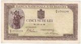 Bancnota 500 lei 1940,filigran vertical