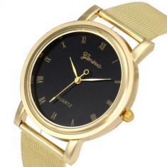 Ceas unisex model GENEVA SIMPLY clasic auriu metalic + cutie simpla cadou