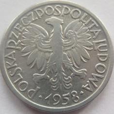 Moneda 2 Zloti - POLONIA, anul 1958 *cod 2747 Allu- vF/xF, Europa, Aluminiu