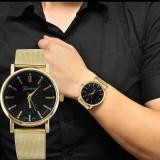 Ceas unisex model GENEVA clasic auriu bratara metalica + cutie simpla cadou