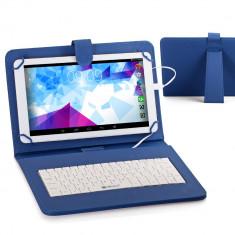 Husa Tableta 9 Inch Cu Tastatura Micro Usb Model X, Albastru, Tip Mapa C15 - Husa tableta cu tastatura, Universal
