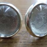 Cercei surub/fluture/cheita baza argintie canochon sticla emailata argintiu