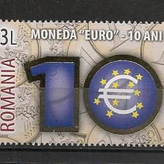 Romania.2009 10 ani moneda EURO-folio AUR HR.417 - Timbre Romania, Nestampilat
