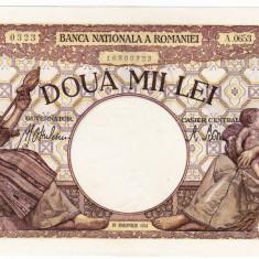 1)Bancnota 2000 lei 18 noiembrie 1941 filigran Traian a.UNC/UNC - Bancnota romaneasca