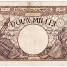 5) Bancnota 2000 lei 18 noiembrie 1941 filigran Traian - Bancnota romaneasca