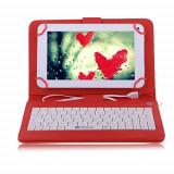 Husa Tableta 7 Inch Cu Tastatura Micro Usb Model X , Rosu , Tip Mapa C3, Universal