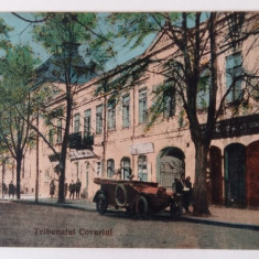 GALATI -TRIBUNALUL COVURLUI - ANIMATIE SI IMPRESIONANTA MASINA DE EPOCA - RARA - Carte Postala Moldova 1904-1918, Stare: Necirculata, Tip: Fotografie